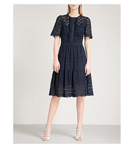 TEMPERLEY LONDON Lunar fit-and-flare lace dress (Midnight