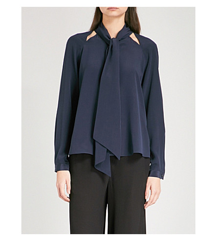TEMPERLEY LONDON Purity pussybow silk-crepe de chine blouse (Midnight