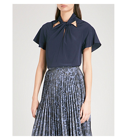TEMPERLEY LONDON Purity twisted silk-crepe de chine top (Midnight