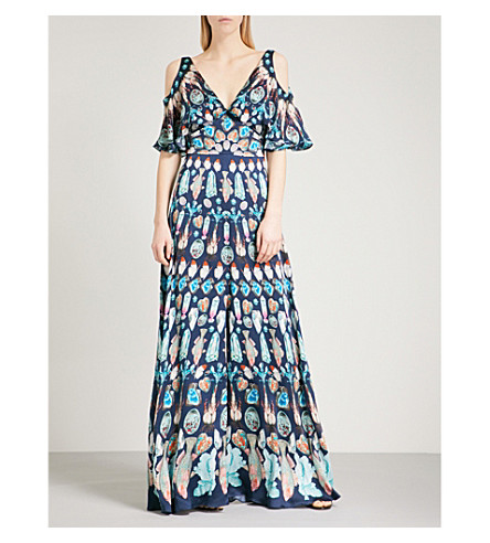 TEMPERLEY LONDON Quartz cold-shoulder silk maxi dress (Midnight
