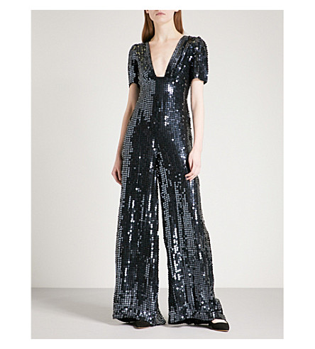 TEMPERLEY LONDON Heart Charm sequinned jumpsuit (Black