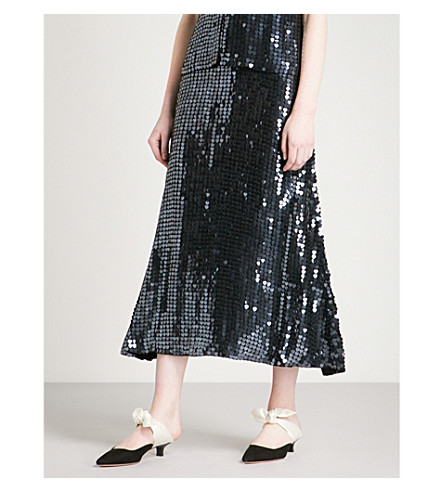 TEMPERLEY LONDON Heart Charm high-rise sequinned skirt (Black