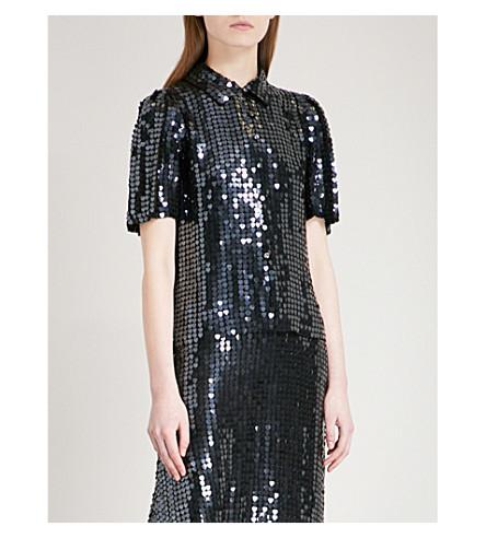TEMPERLEY LONDON Heart Charm sequinned blouse (Black