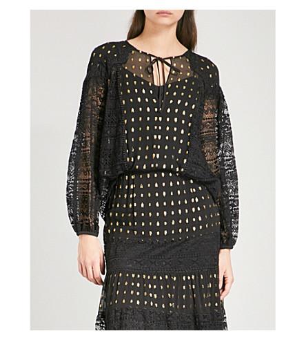 TEMPERLEY LONDON Wondering lace and chiffon blouse (Black+mix
