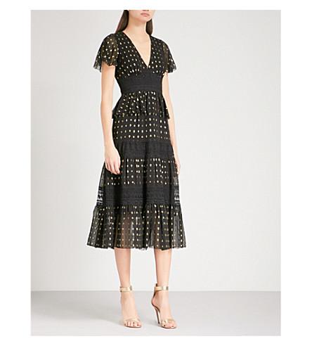 TEMPERLEY LONDON Wondering chiffon and lace midi dress (Black+mix