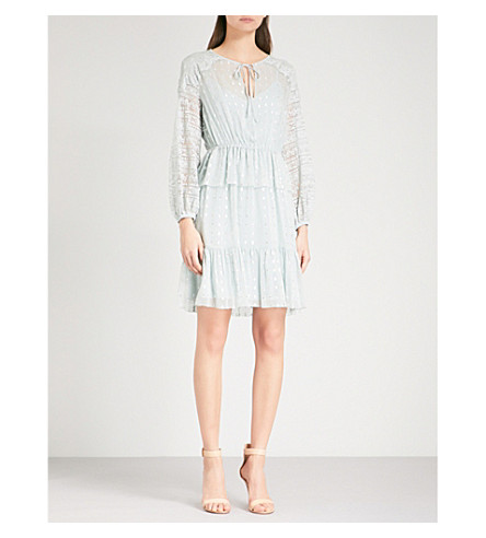TEMPERLEY LONDON 想知道花边合身和光晕雪纺礼服 (苍白 + 地衣