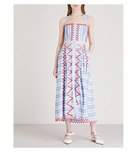 TEMPERLEY LONDON Trelliage halterneck woven midi dress (Azure