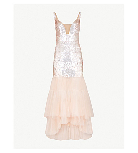 TEMPERLEY LONDON Bardot sequinned and tulle dress (Porcelain