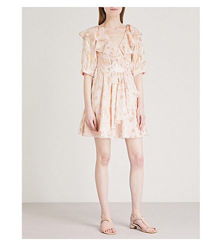 TEMPERLEY LONDON Riviera ruffled silk-blend dress (Powder