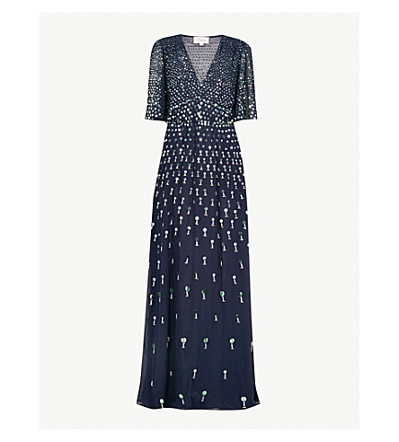TEMPERLEY LONDON Topiary V-neck sequin-embellished dress (Prussian blue