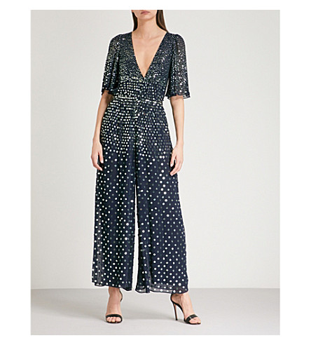 TEMPERLEY LONDON Topiary sequinned jumpsuit (Prussian+blue