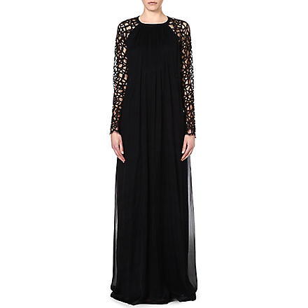 TEMPERLEY LONDON Silk-blend floor length dress (Black