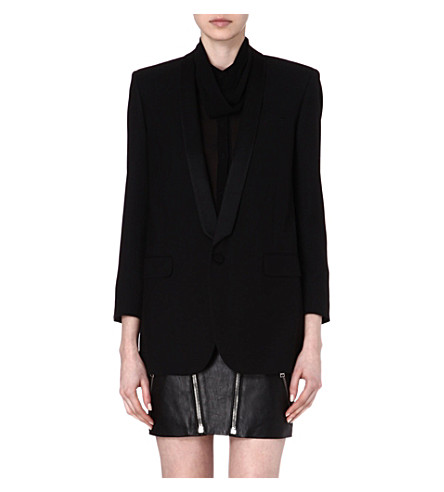 SAINT LAURENT Silk-trim classic blazer (Black