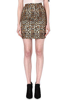 SAINT LAURENT Leopard jacquard skirt