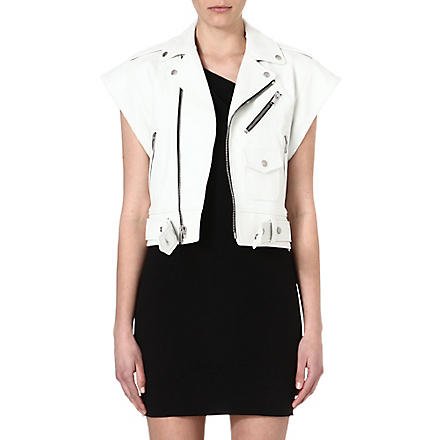 SAINT LAURENT Perfecto sleeveless leather jacket (White