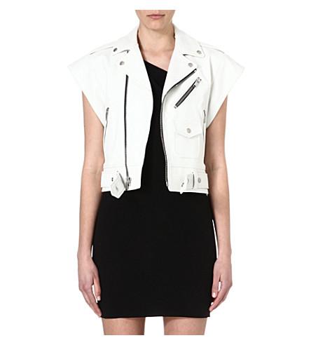 SAINT LAURENT Perfecto sleeveless leather jacket (White