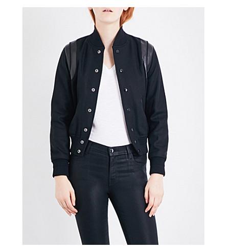 SAINT LAURENT Leather-trimmed wool bomber jacket (Black