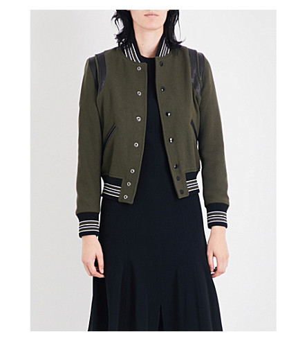 SAINT LAURENT Teddy leather-trim wool-blend bomber jacket (Karki