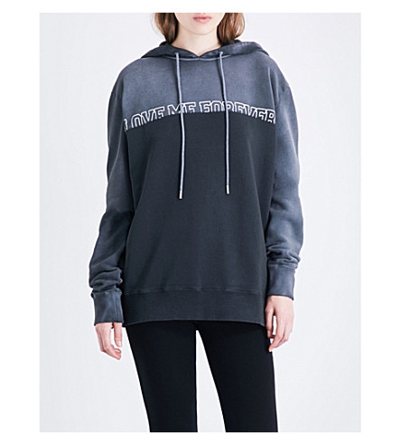 SAINT LAURENT Love Me Forever cotton-jersey hoody (Dark+grey