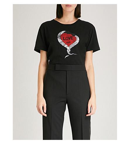SAINT LAURENT Love 1974 cotton-jersey T-shirt (Black