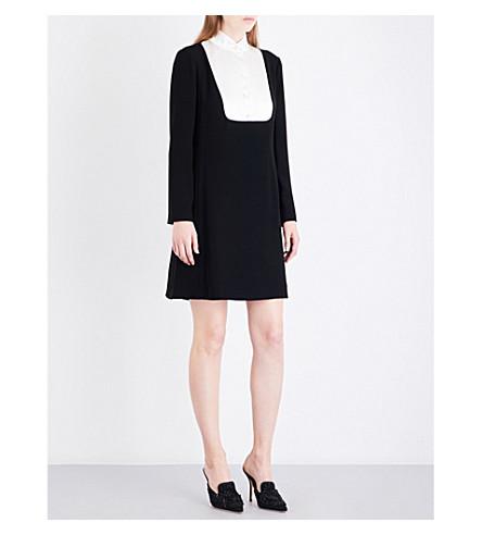 LANVIN Shirt-bib crepe mini dress (Black