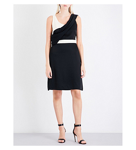 LANVIN Draped A-line crepe dress (Black