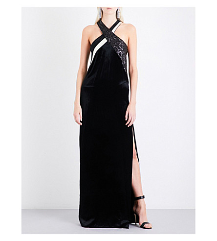 LANVIN Sequin-panelled cross-over velvet gown (Black
