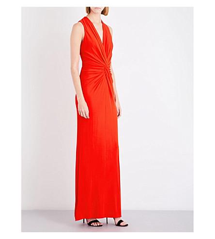 LANVIN Knot-waist stretch-crepe gown (Gerranium