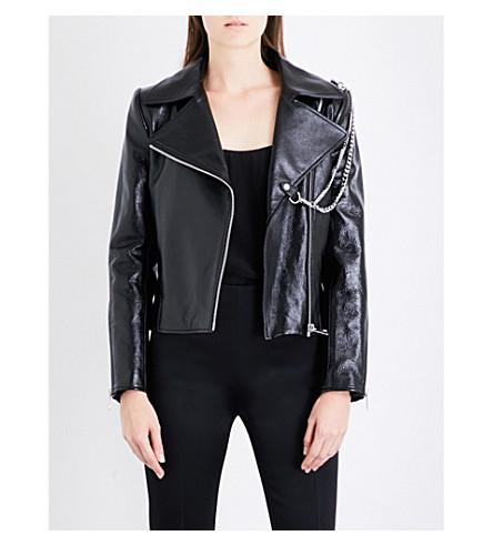 LANVIN Double chain-detail leather jacket (Black
