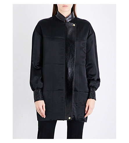 LANVIN Contrast-panel satin bomber jacket (Black