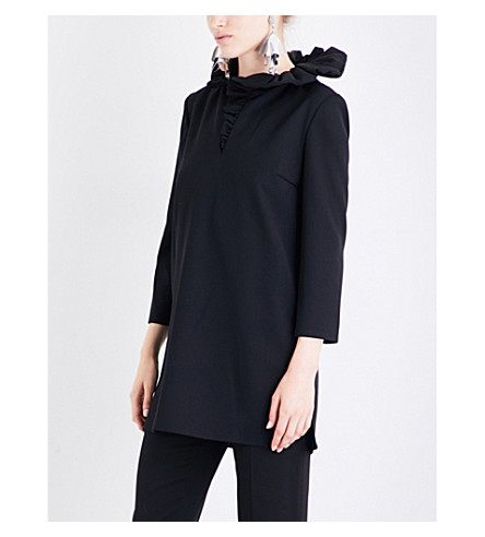 LANVIN Frilled collar wool top (Black