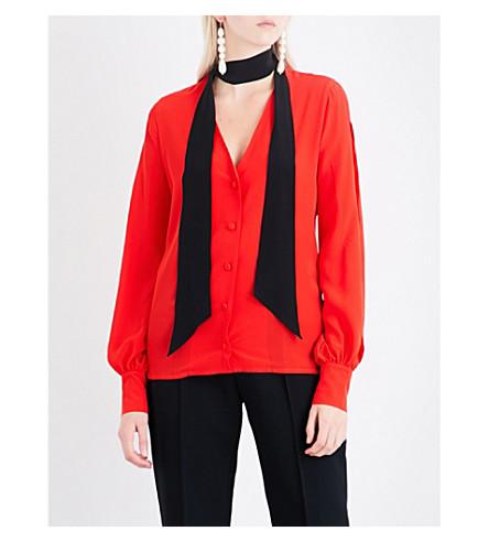 LANVIN Contrasting neck-tie silk shirt (Gerranium