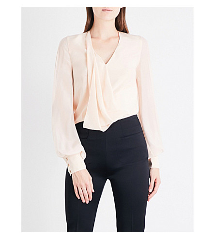 LANVIN V-neck silk-crepe shirt (Powder