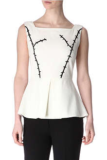OSMAN Embroidered peplum top