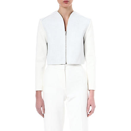 OSMAN YOUSEFZADA Stingray cropped leather jacket (Wht