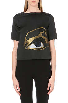 OSMAN YOUSEFZADA Metallic-eye satin top