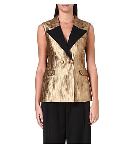 OSMAN Tie-back jacquard waistcoat (Gold