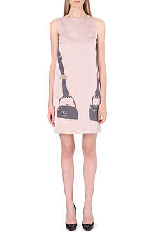 OSMAN YOUSEFZADA Handbag-print satin shift dress