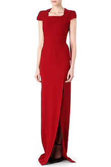 ROLAND MOURET Cap-sleeve square-neck gown