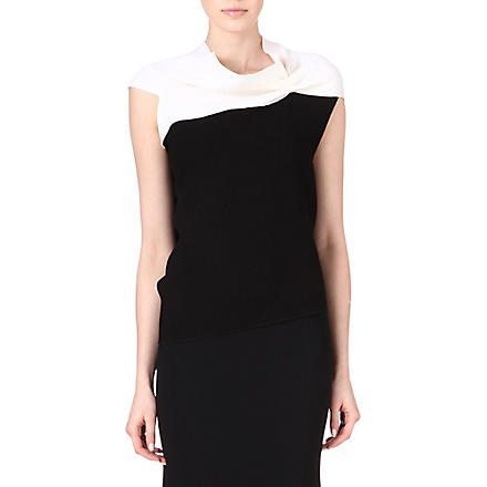 ROLAND MOURET Eugene two-toned wool-crepe top (Off wht/ blk