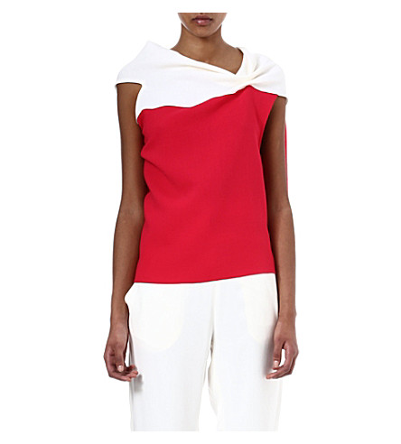 ROLAND MOURET Eugene two-toned wool-crepe top (Off wht/ raspberry