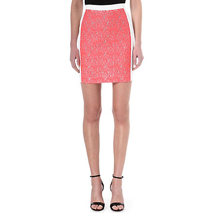 ROLAND MOURET Libra pencil skirt (Fluro pink/white