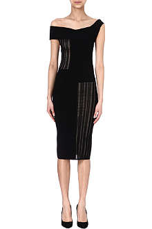 ROLAND MOURET Mable mesh-panel dress