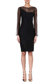 ROLAND MOURET Magnolia sheer-sleeved dress