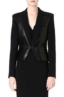 ROLAND MOURET Leather and wool tuxedo jacket