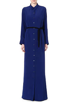 ROLAND MOURET Silk shirt dress with black waist tie