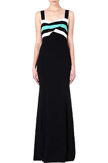 ROLAND MOURET Crepe stripe maxi dress
