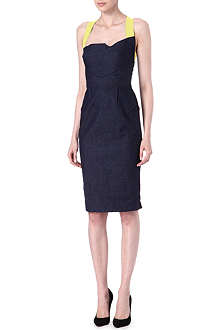 ROLAND MOURET Contrast-strap denim dress