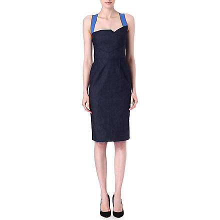 ROLAND MOURET Contrast-strap denim dress (Blue/+cobalt