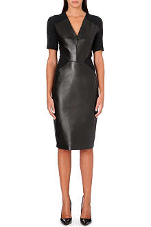 ROLAND MOURET Nabis leather-panel dress